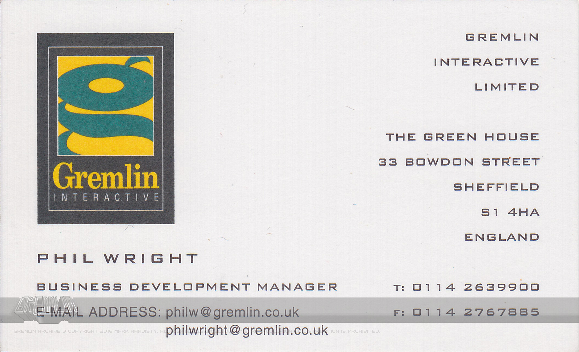 Phil Wright Business Card