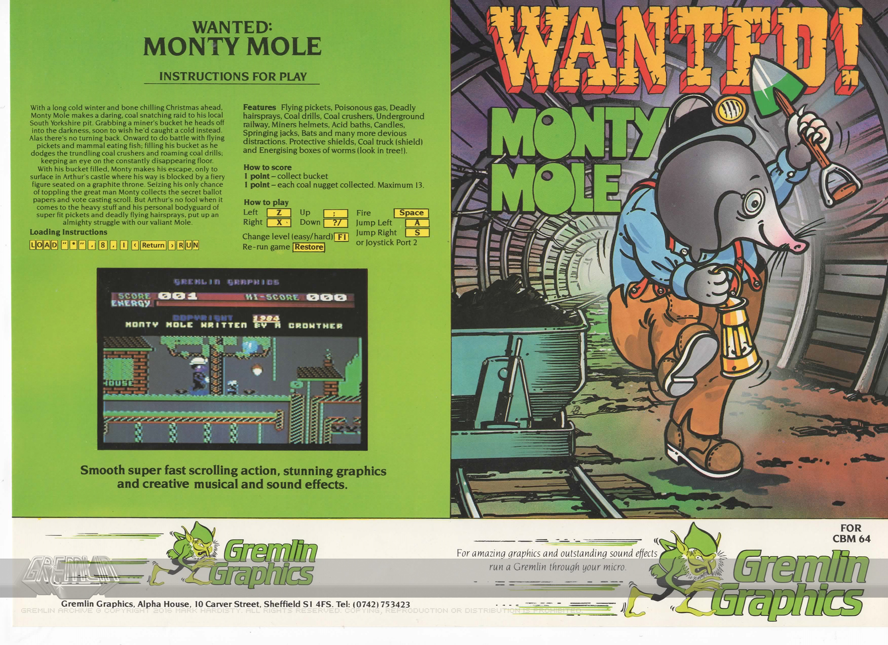 Rare Wanted: Monty Mole C64 Disk Inlay