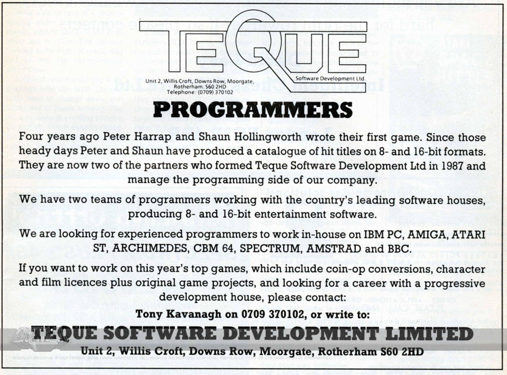 Teque Programmers Advert