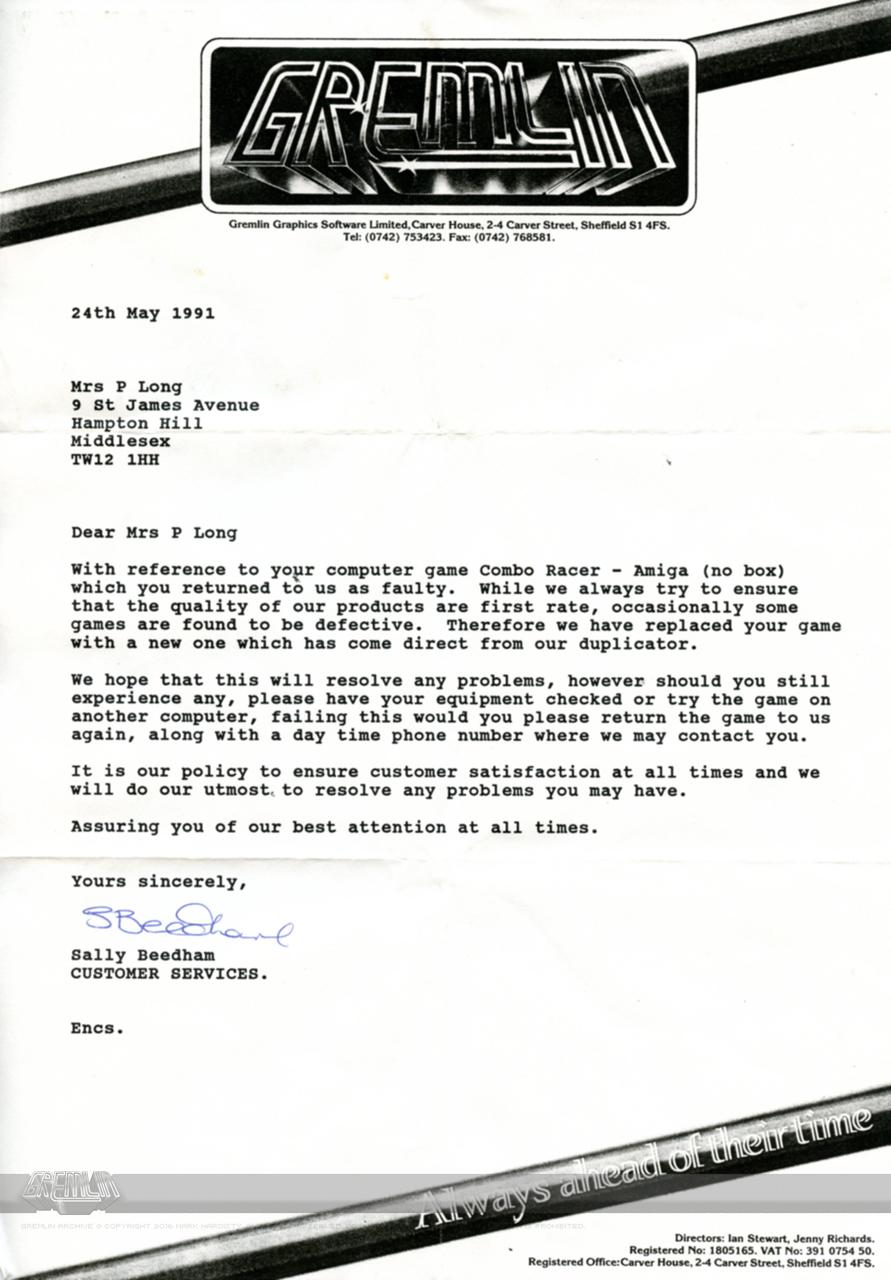 Combo Racer QA Letter