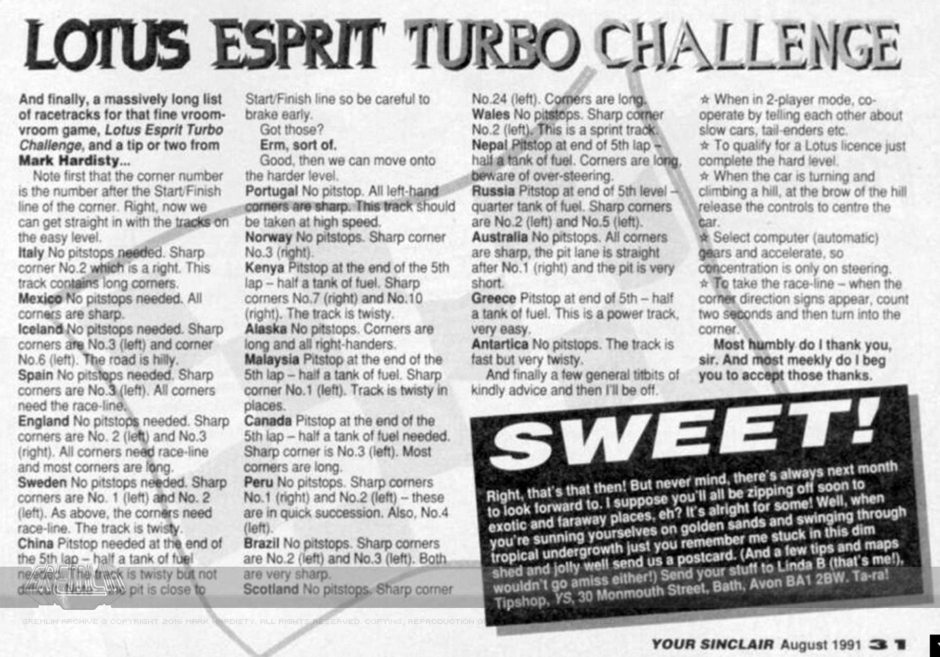 Lotus Esprit Turbo Challenge Tips