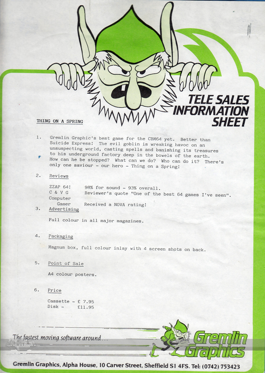 Thing on a Spring Telesales Info Sheet