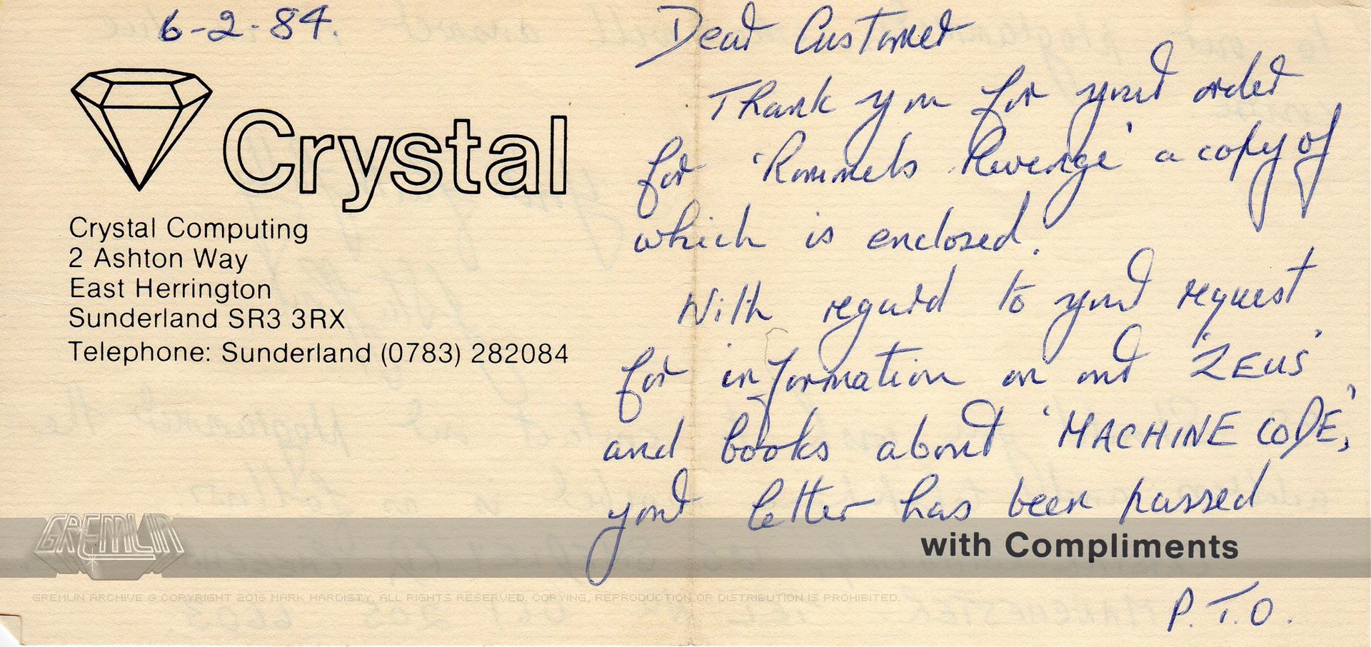 Greg Holmes Crystal Computing Correspondence