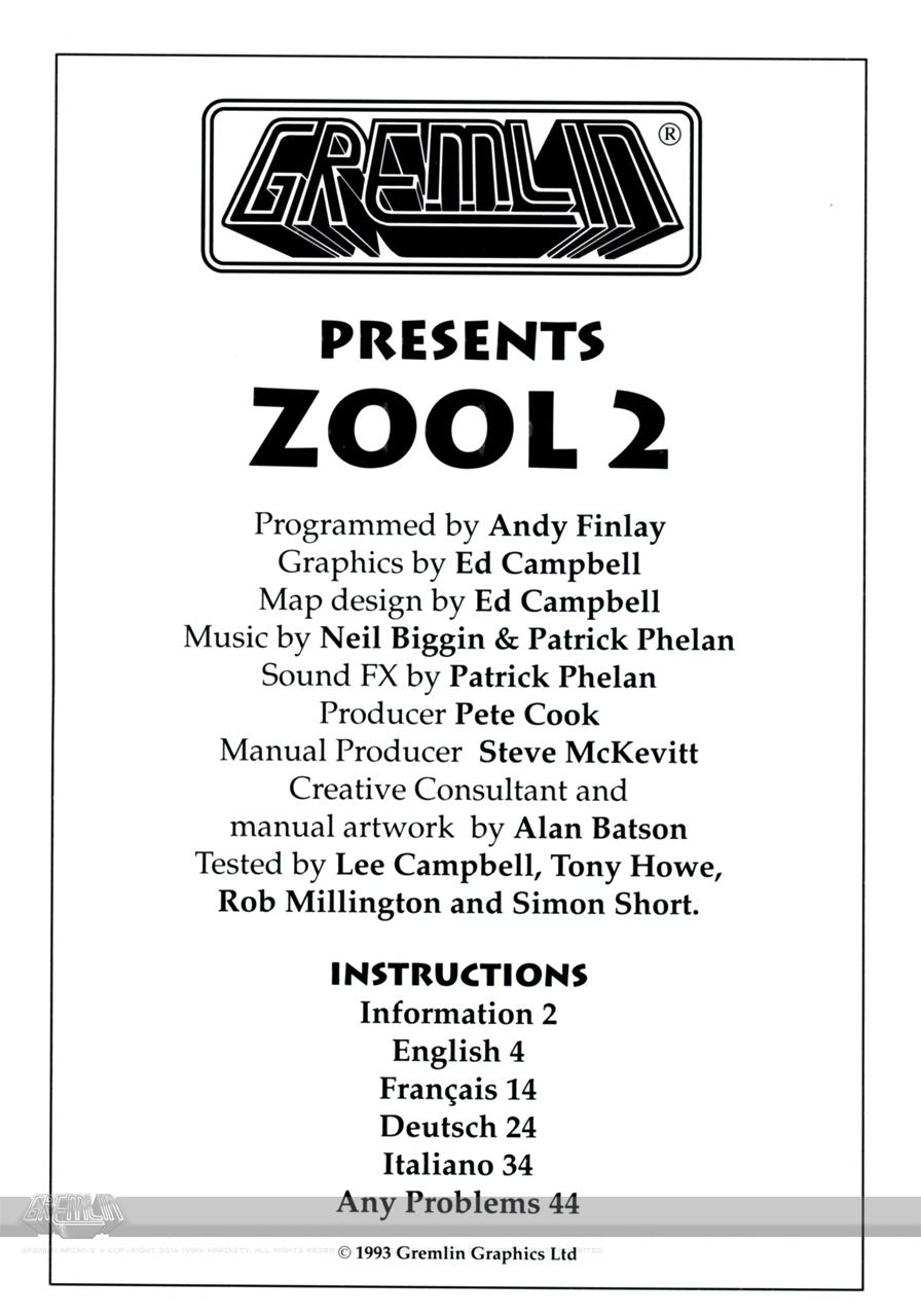 Zool 2 Credits