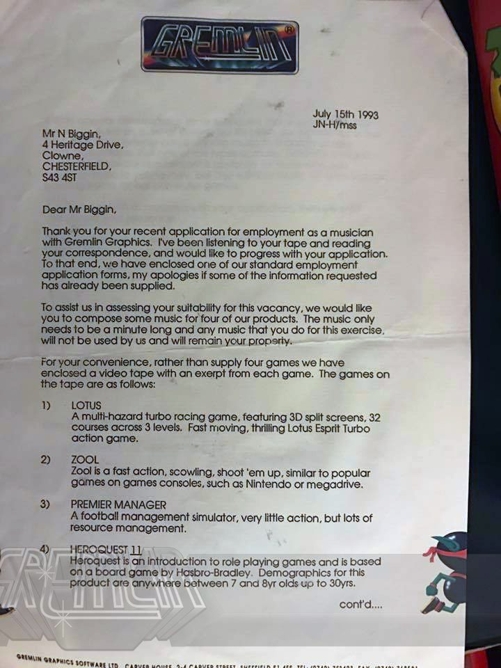 Neil Biggin Interview Letter