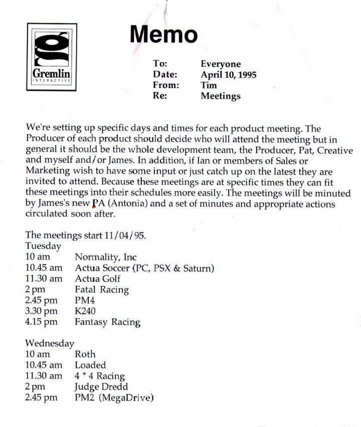 Gremlin Product Meeting Memo (April 1995)