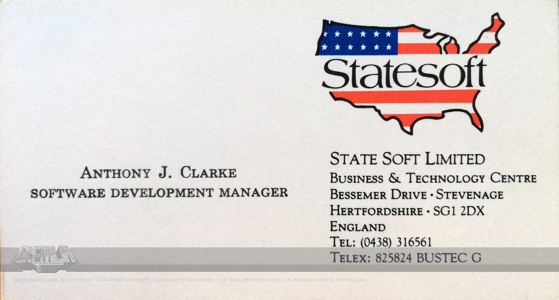 Anthony Clarke – Statesoft Business Card