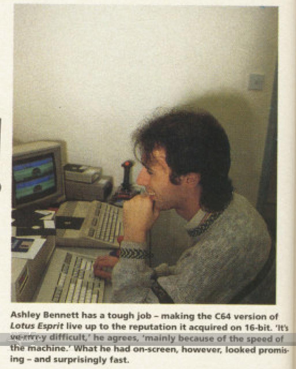 Ash Bennett coding Lotus Esprit Turbo Challenge (C64)