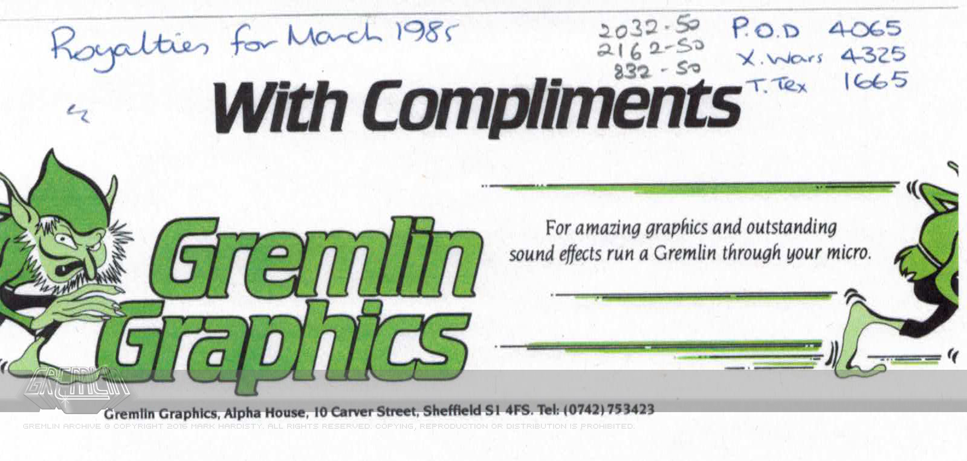 Compliment Slip / Royalty Notes