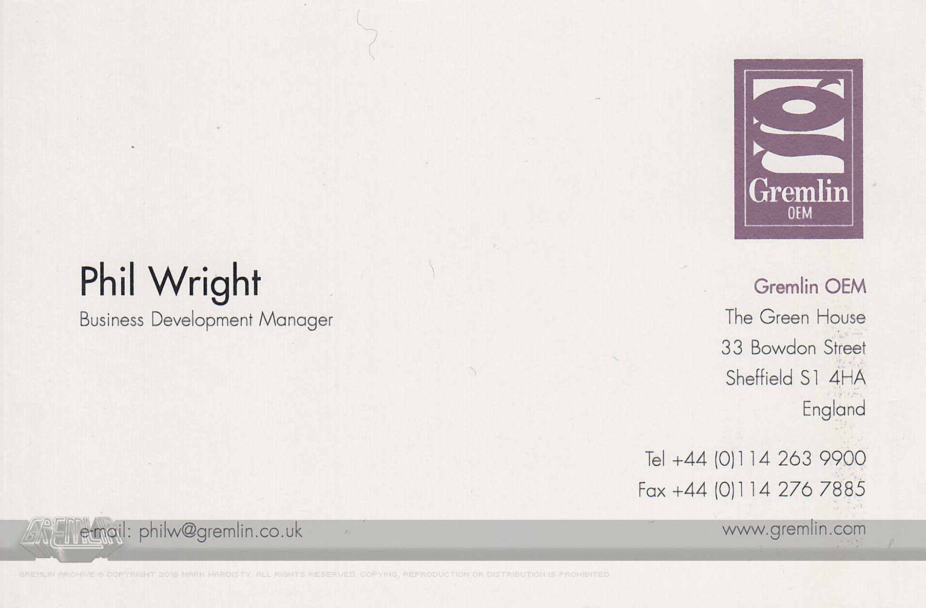 Phil Wright OEM Business Card