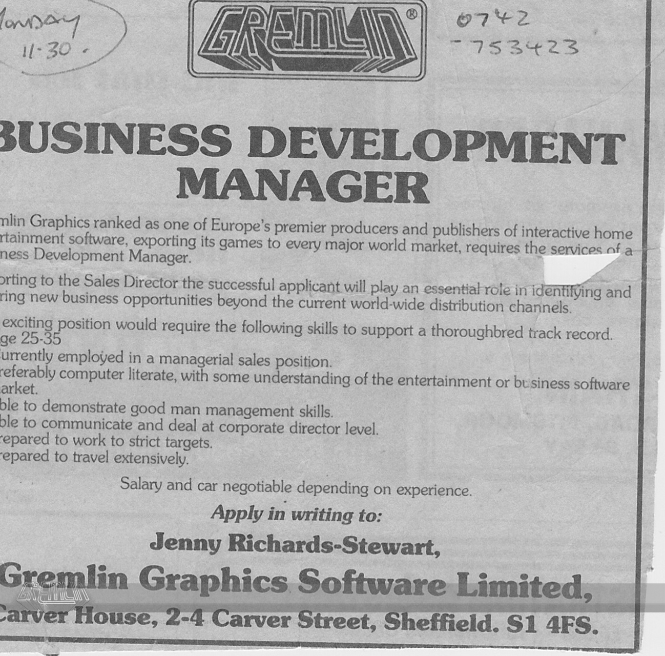 Business Development Manager Advert