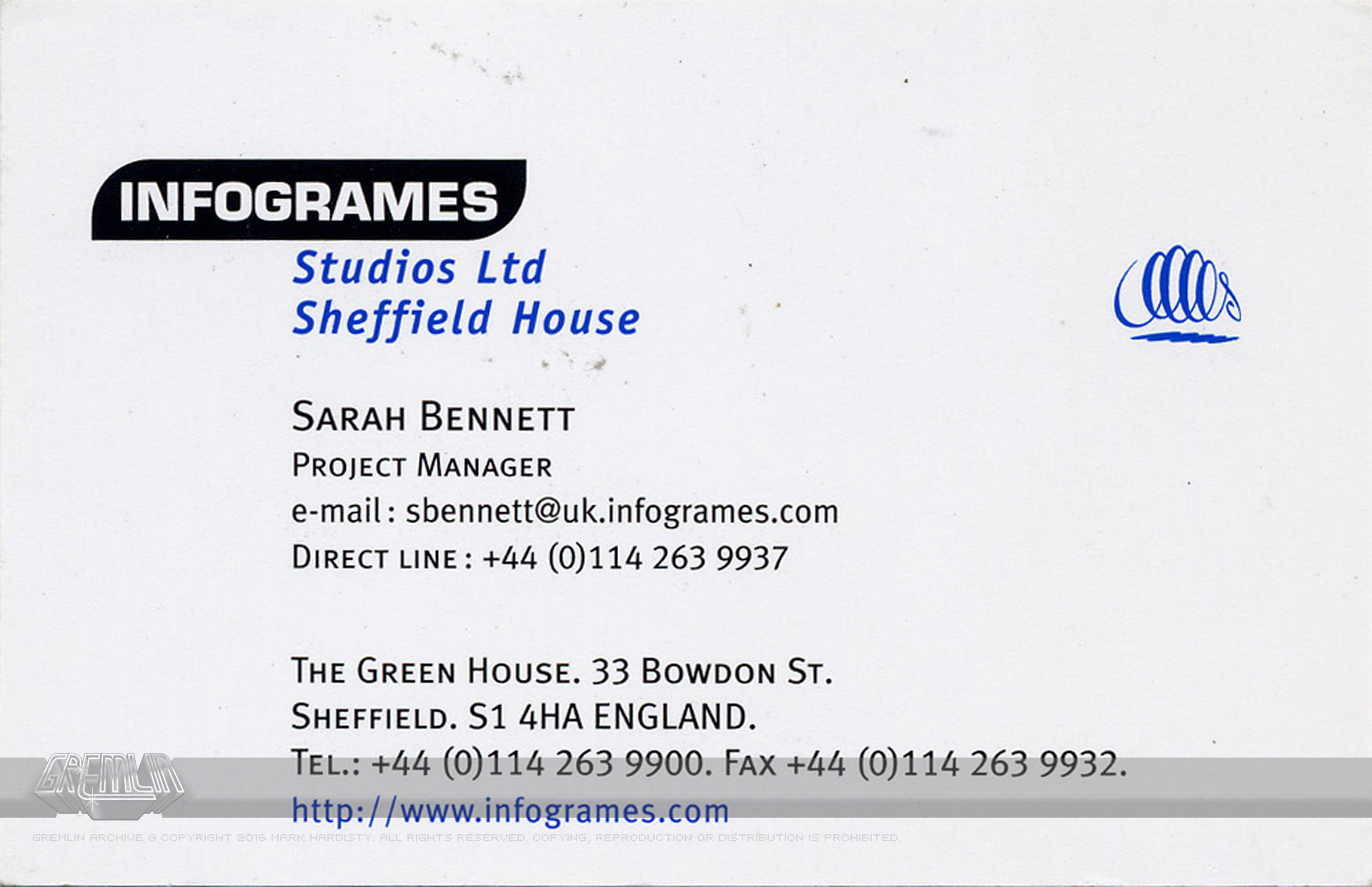 Business cards the gremlin graphics archive sarah bennett infogrames sheffield house business card colourmoves Choice Image
