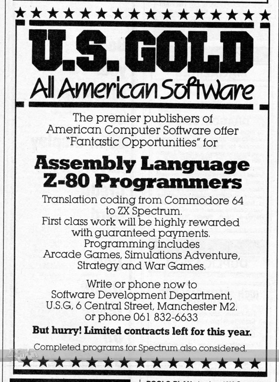 U.S. Gold Conversion Programmers Advert
