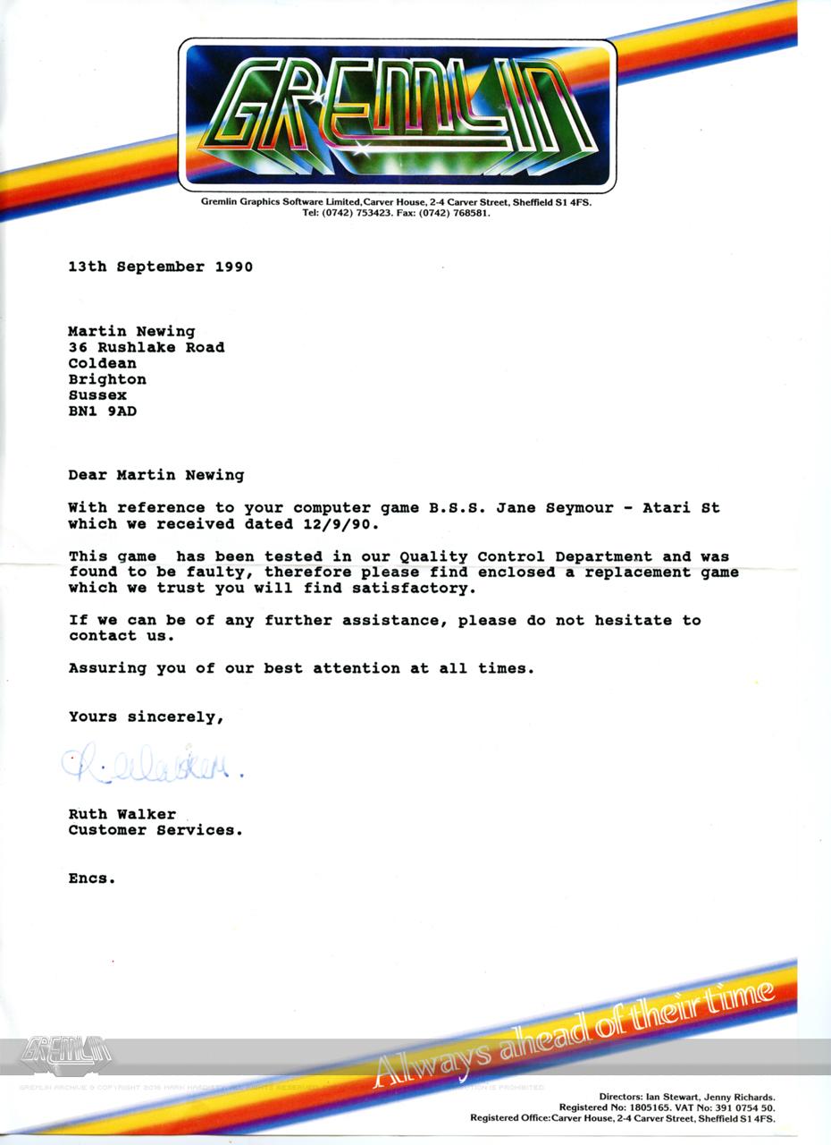 BSS Jane Seymour QA Letter
