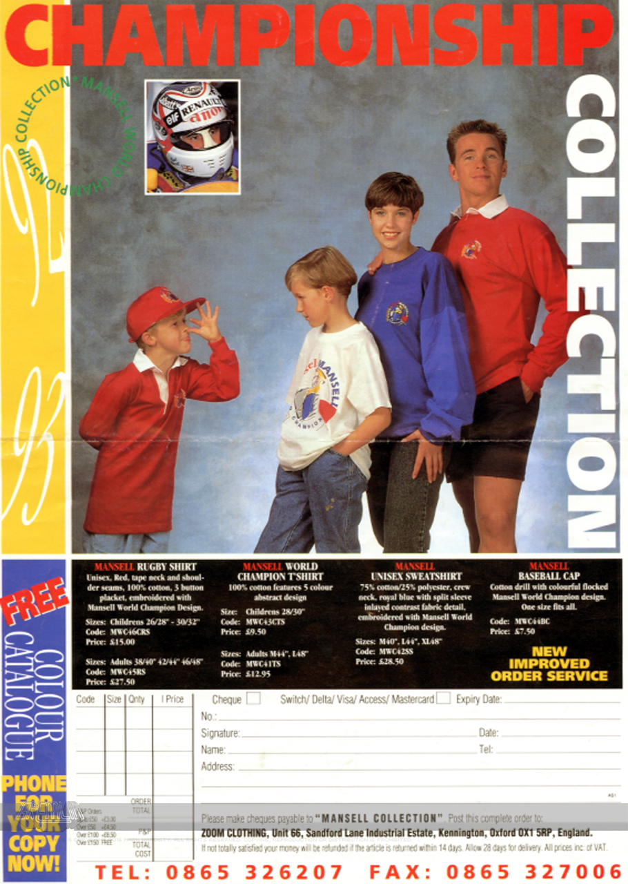 Nigel Mansell Merchandise Advert