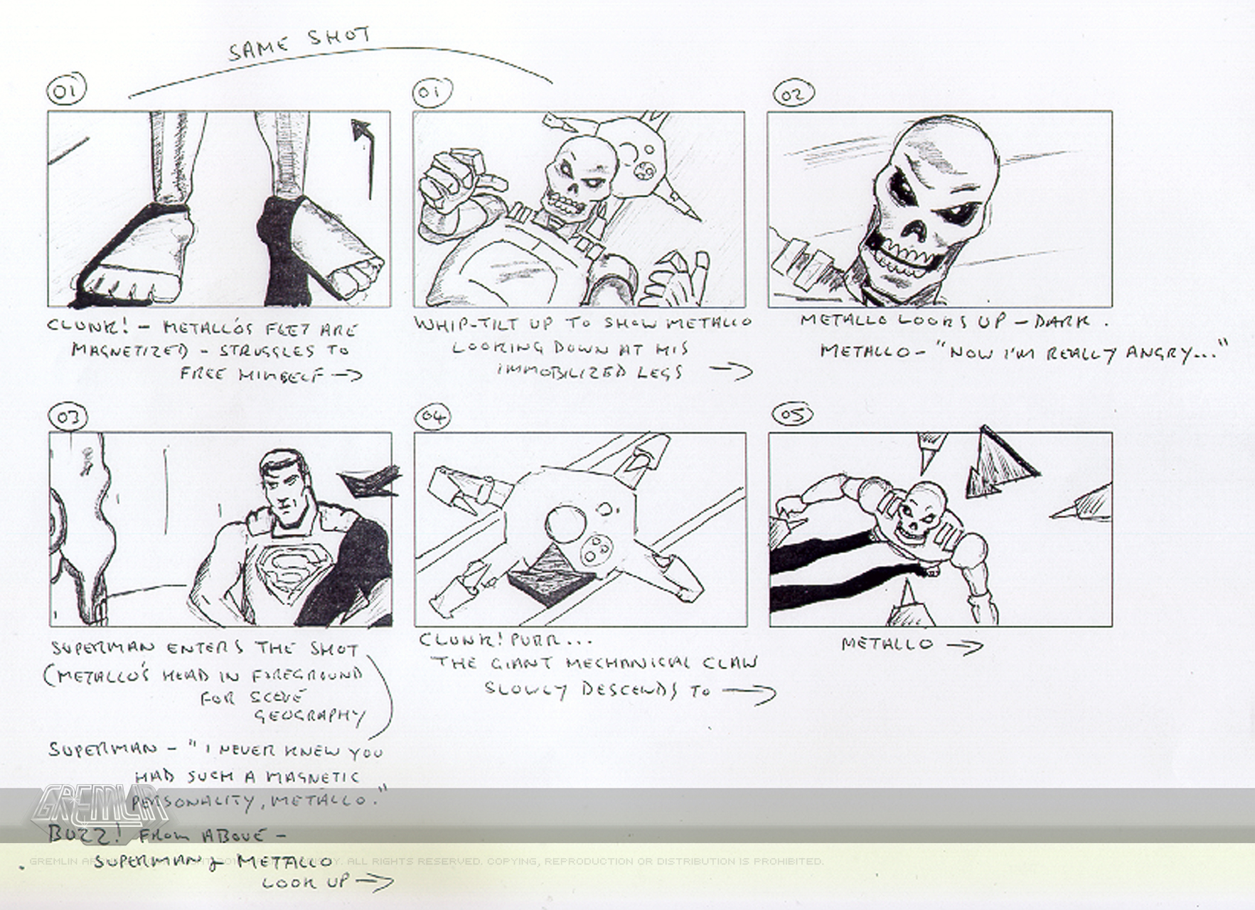 Superman: Shadow of Apokolips storyboard