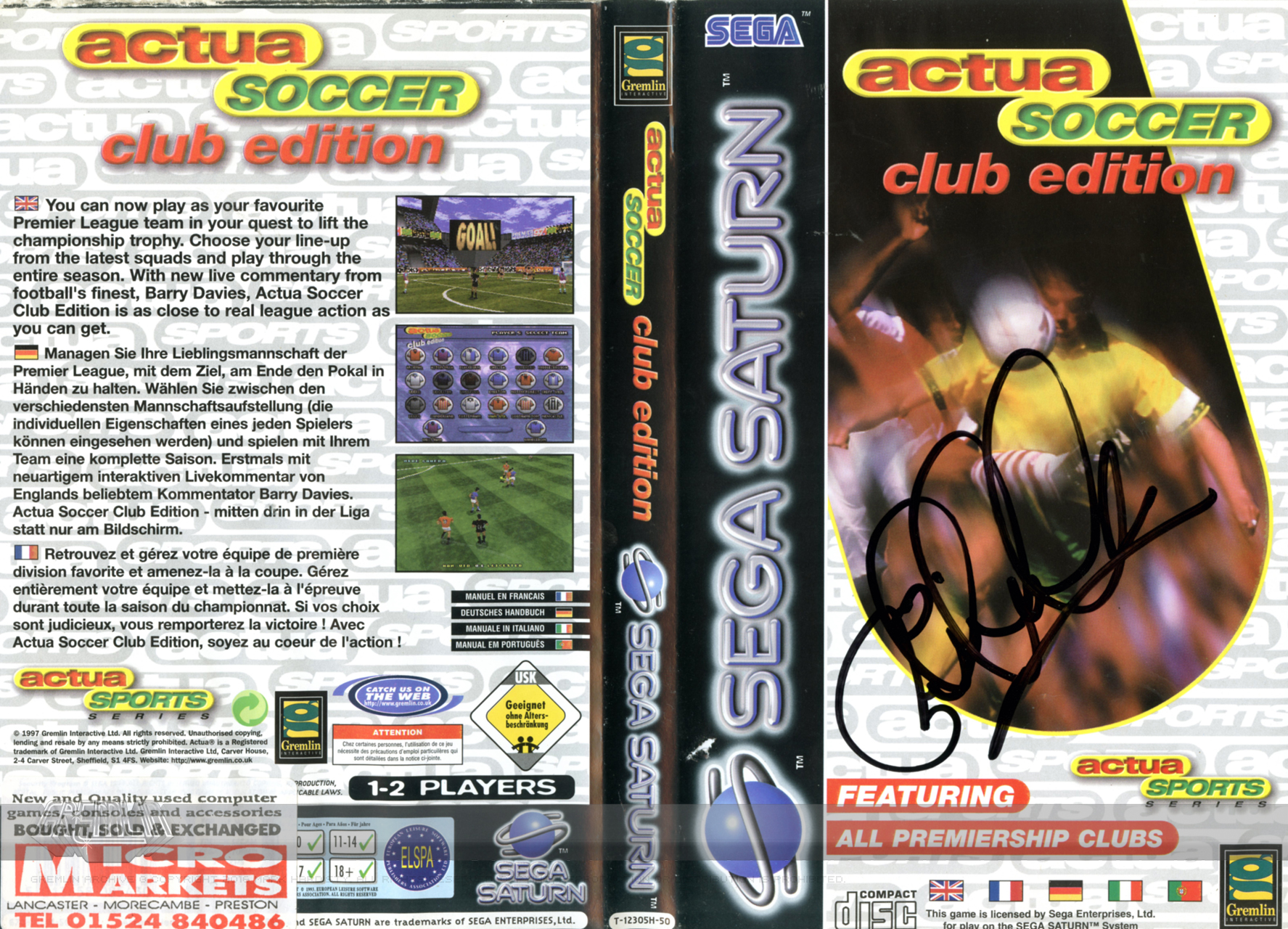 Actua Soccer: Club Edition (Saturn, Signed)