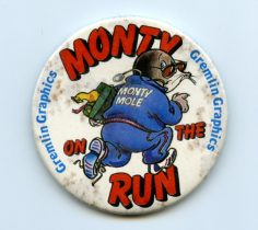 Monty on the Run vintage badge