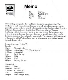 Gremlin Product Meeting Memo (April 1995)