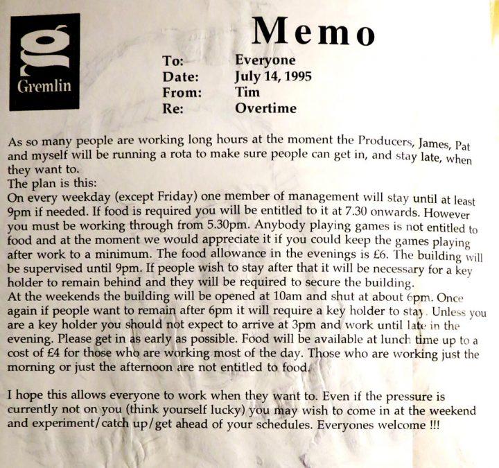 Overtime Memo (July 1995)